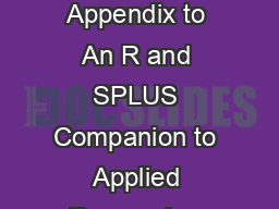 Frames Environments and Scope in R and SPLUS Appendix to An R and SPLUS Companion to Applied Regression JohnFox March  Introduction Section