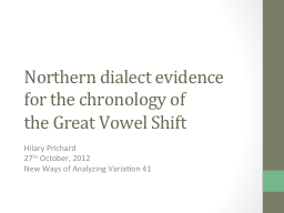Northern dialect evidence