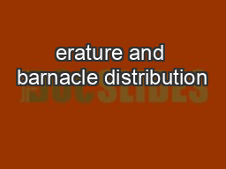erature and barnacle distribution