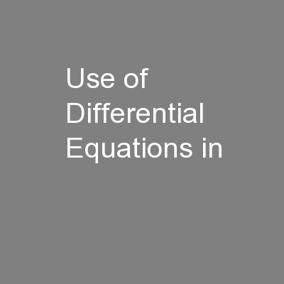 Use of Differential Equations in