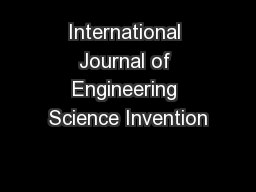 International Journal of Engineering Science Invention