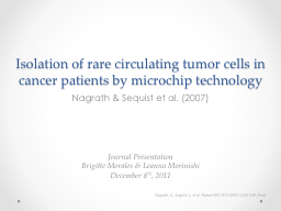Isolation of rare circulating tumor cells in cancer patient