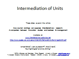 Intermediation of Units