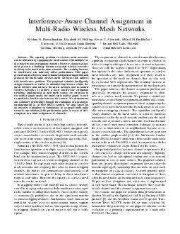 InterferenceAware Channel Assignment in MultiRadio Wireless Mesh Networks Krishna N PDF document - DocSlides