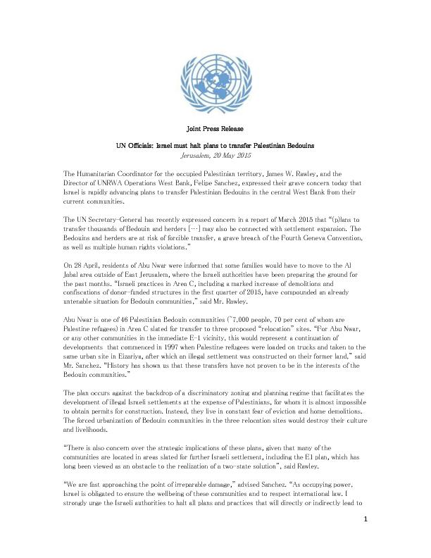 Joint Press Release