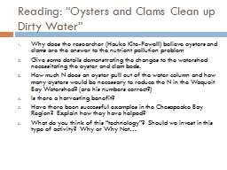 """Reading: """"Oysters and Clams Clean up Dirty Water"""""""