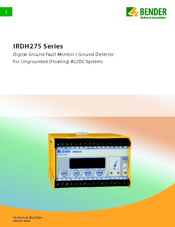 IRDH275 SeriesDigital Ground Fault Monitor / Ground DetectorFor Ungrou