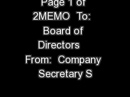 Page 1 of 2MEMO  To:  Board of Directors    From:  Company Secretary S