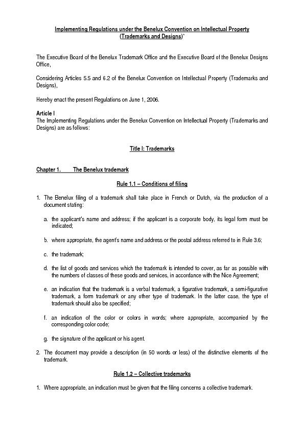 Implementing Regulations under the Benelux Convention on Intellectual
