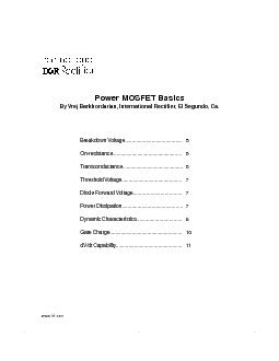 wwwirfcom Power MOSFET Basics By Vrej Barkhordarian International Rectifier El Segundo Ca PDF document - DocSlides