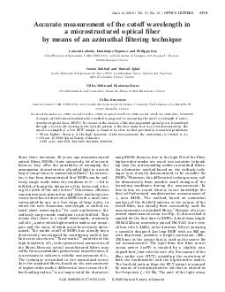 Accurate measurement of the cutoff wavelength in a microstructured optical ber by means of an azimuthal ltering technique Laurent Labonte Dominique Pagnoux and Philippe Roy XlimPhotonics Department U PDF document - DocSlides