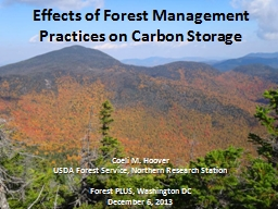 Effects of Forest Management Practices on Carbon Storage