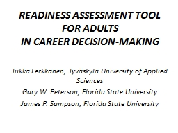READINESS ASSESSMENT TOOL FOR ADULTS PowerPoint Presentation, PPT - DocSlides