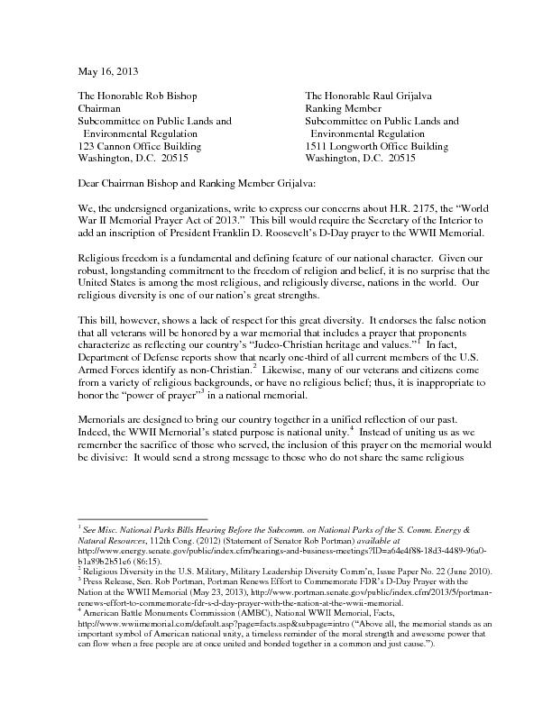 MayThe Honorable Rob BishopThe Honorable Raul GrijalvaChairmanRanking PDF document - DocSlides