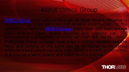 About Omics Group PowerPoint Presentation, PPT - DocSlides