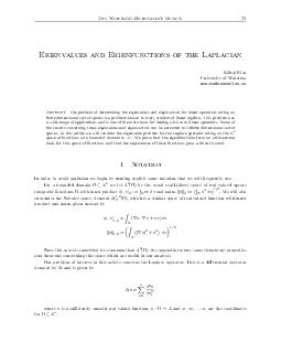 The Waterloo Mathematics Review  Eigenvalues and Eigenfunctions of the Laplacian Mihai Nica University of Waterloo mcnicauwaterloo