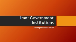 Iran: Government Institutions