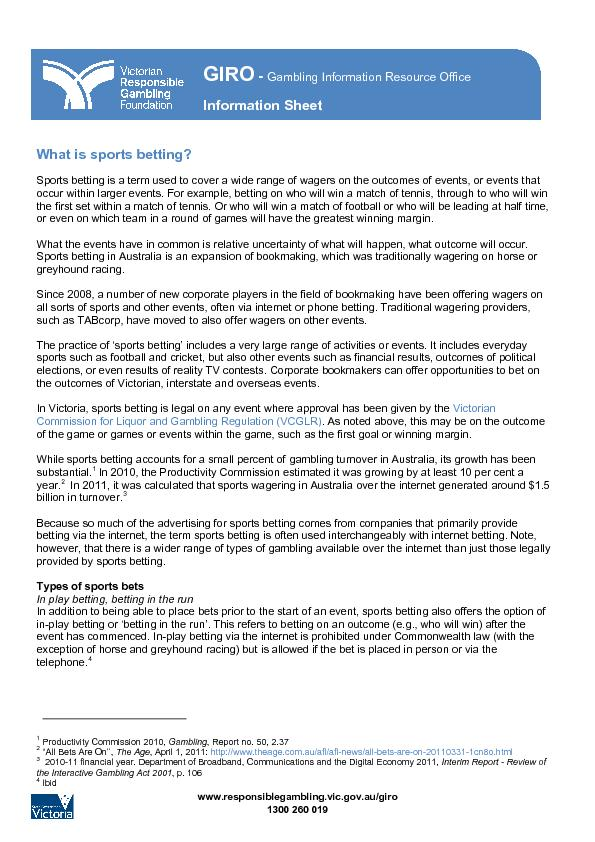 Information Sheet: What is Sports Betting?   PDF document - DocSlides