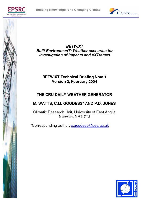 BETWIXT Built EnvironmenT: Weather scenarios for investigation of Impa PDF document - DocSlides