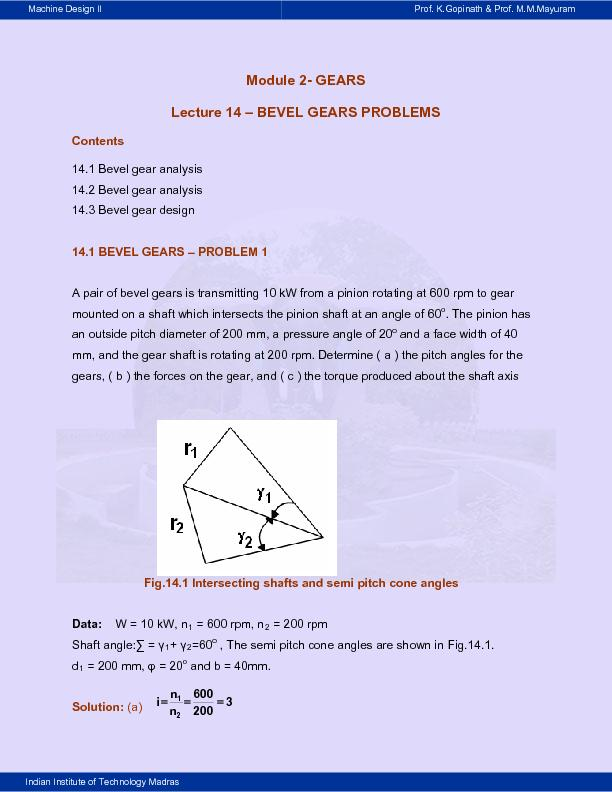 CONTENTS 14.1 Bevel gear analysis 14.2 Bevel gear analysis mounted on