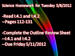 Science Homework for Tuesday PowerPoint Presentation, PPT - DocSlides