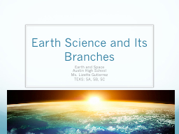 Earth Science and Its Branches PowerPoint PPT Presentation