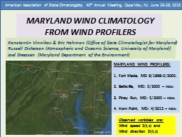 MARYLAND WIND CLIMATOLOGY FROM WIND PROFILERS