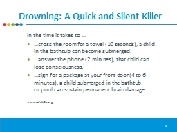 Drowning: A Quick and Silent Killer PowerPoint Presentation, PPT - DocSlides