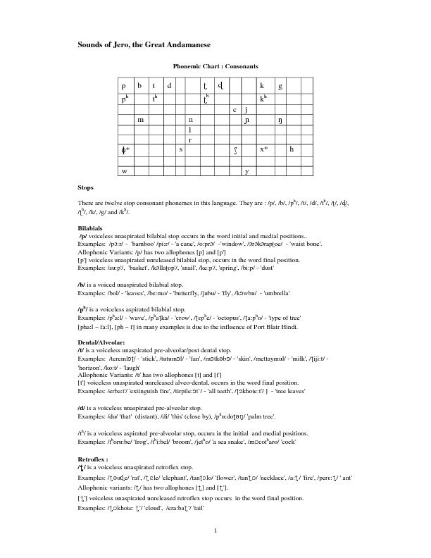 1 Sounds of Jero, the Great Andamanese Phonemic Chart : Consonants  p PDF document - DocSlides