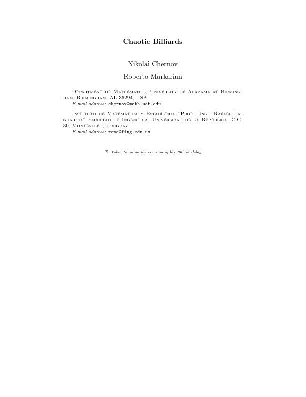 ChaoticBilliardsNikolaiChernovRobertoMarkarianDepartmentofMathematics, PDF document - DocSlides