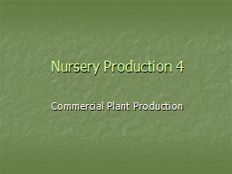 Nursery Production 4 PowerPoint PPT Presentation