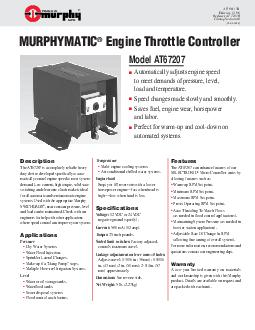 ATB Effective  Replaces ATB Catalog Section   MURPHYMATIC Engine Throttle Controller Automatically adjusts engine speed to meet demands of pressure level load and temperature