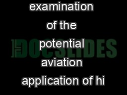 An  examination of the potential aviation application of hi