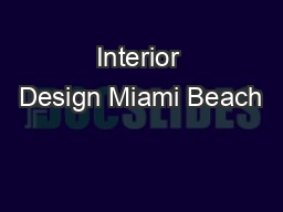 Interior Design Miami Beach
