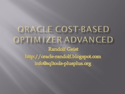 ORACLE COST-BASED OPTIMIZER ADVANCED
