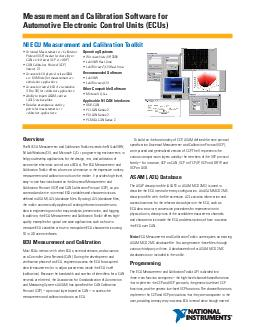 Measurement and Calibration Software for Automotive Electronic Control Units ECUs Overview The NI ECU Measurement and Calibration Toolkit extends the NI LabVIEW NI LabWindowsCVI and Microsoft CC prog