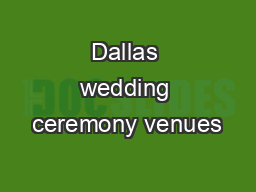 Dallas wedding ceremony venues