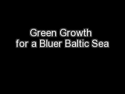 Green Growth for a Bluer Baltic Sea