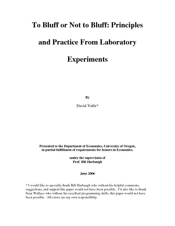 To Bluff or Not to Bluff: Principles and Practice From Laboratory Expe