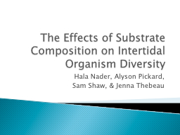 The Effects of Substrate Composition on Intertidal Organism