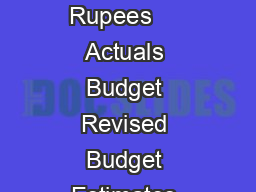 Expenditure In crore of Rupees     Actuals Budget Revised Budget Estimates Estimates Estimates
