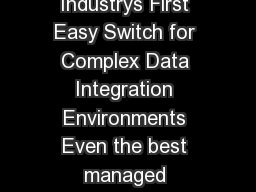 Data Sheet Informatica Data Integration Hub Implement the Industrys First Easy Switch for Complex Data Integration Environments Even the best managed largescale enterprise data integration environmen