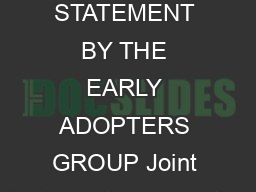 August  JOINT STATEMENT BY THE EARLY ADOPTERS GROUP Joint Statement by Argentina PDF document - DocSlides