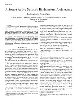 IEEE NETWORK A Secure Active Network Environment Architecture Realization in SwitchWare D