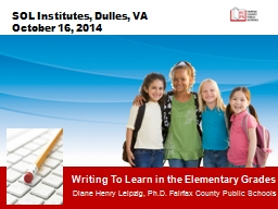 Writing To Learn in the Elementary Grades