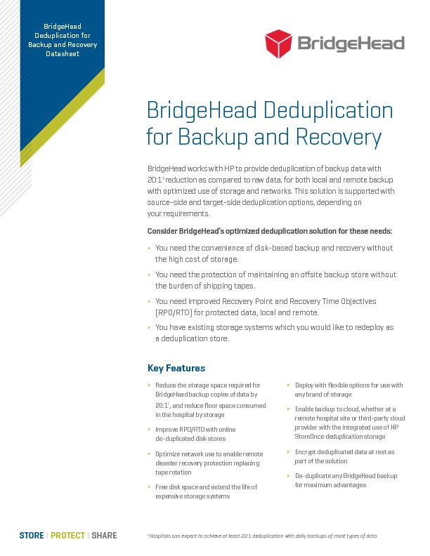 BridgeHead Deduplication for Backup and RecoveryBridgeHead works with