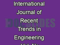 FULL PAPER International Journal of Recent Trends in Engineering Vol  No PowerPoint PPT Presentation