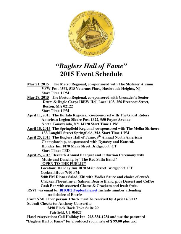 Buglers Hall of FameEvent Schedule