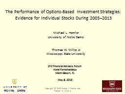 The Performance of Options-Based Investment PowerPoint PPT Presentation