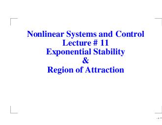 Nonlinear Systems and Control Lecture   Exponential Stability Region of Attraction  p